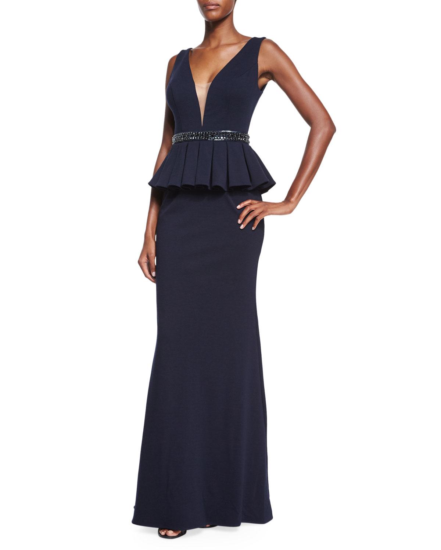 Jovani Sleeveless Peplum Gown | Neiman Marcus
