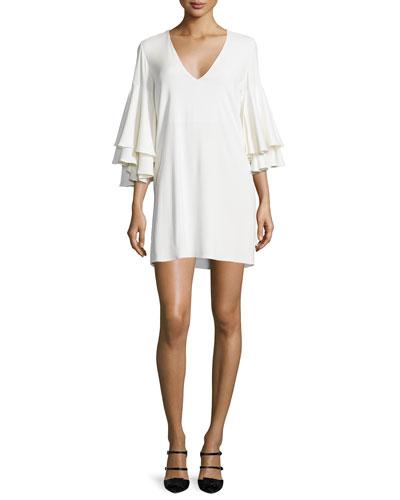 Harper Bell-Sleeve Mini Dress, White