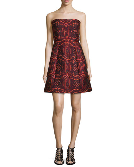 Alice + Olivia Nikki Strapless Tribal-Print Dress, Red/Orange