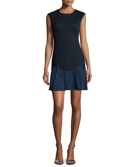 Rebecca Taylor Sleeveless Ponte Combo Dress, Navy