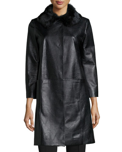 Croc-Embossed Leather Topper Coat, Black