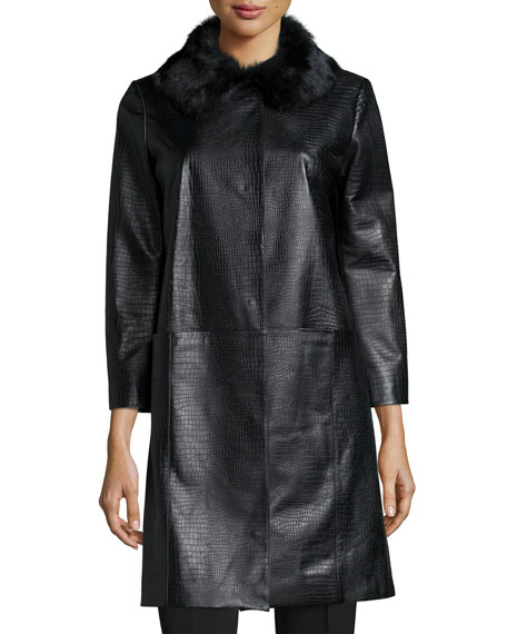 Neiman Marcus Croc-Embossed Leather Topper Coat, Black