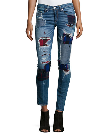 rag & bone/JEANPatchwork Skinny Ankle Jeans, Harajuku