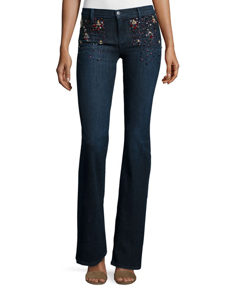 J Brand Charlotte Embellished Boot-Cut Jeans, Intuitive