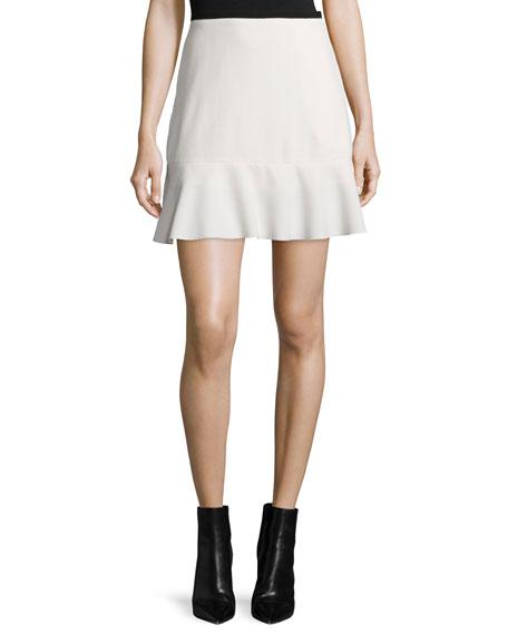 See by Chloe Graphic Crepe Ruffle-Hem Skirt, Off White