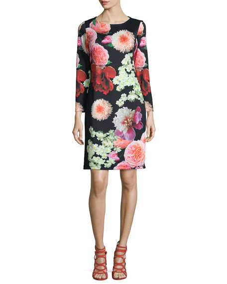 Melissa Masse Photogarden-Print Sheath Dress