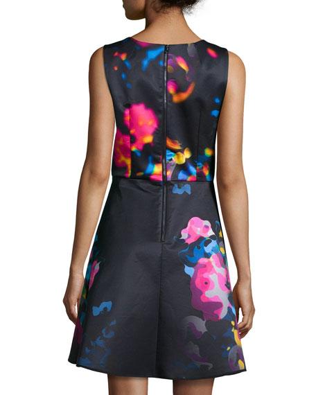 Sleeveless Rosette Cascade Dress, Multicolor