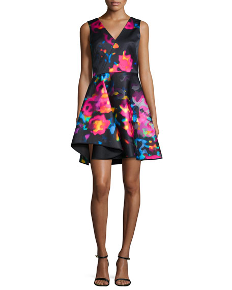 Milly Sleeveless Rosette Cascade Dress, Multicolor