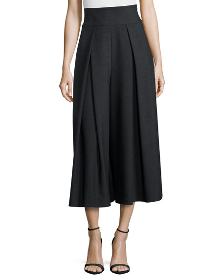 Milly High-Waisted Pleated Double-Face Culottes, Gray