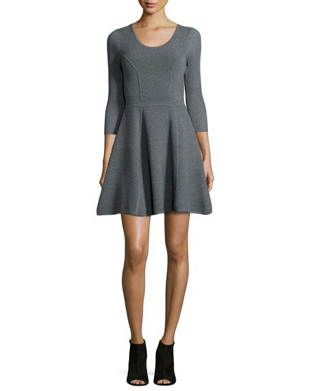 Milly Textured Fit-and-Flare Dress