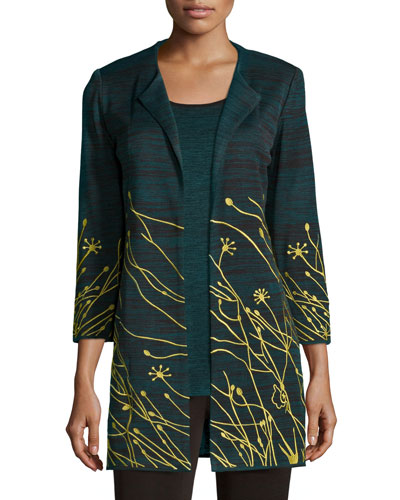 Misook Floral Embroidered Jacket, Women's