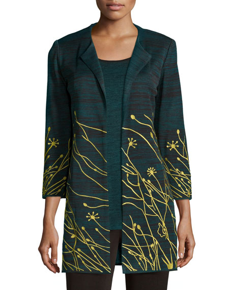 Misook Floral Embroidered Jacket, Plus Size