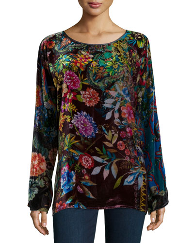 Flower-Print Velvet Tunic, Women's