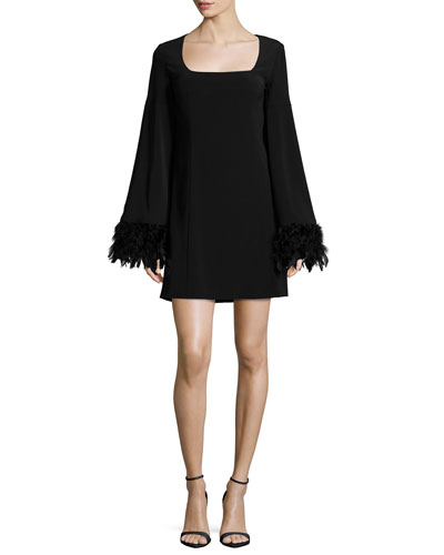 Cape Dress W/ Feather Cuffs
