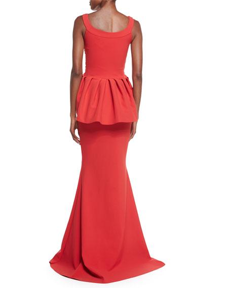 Dixie Sleeveless V-Neck Peplum Mermaid Gown