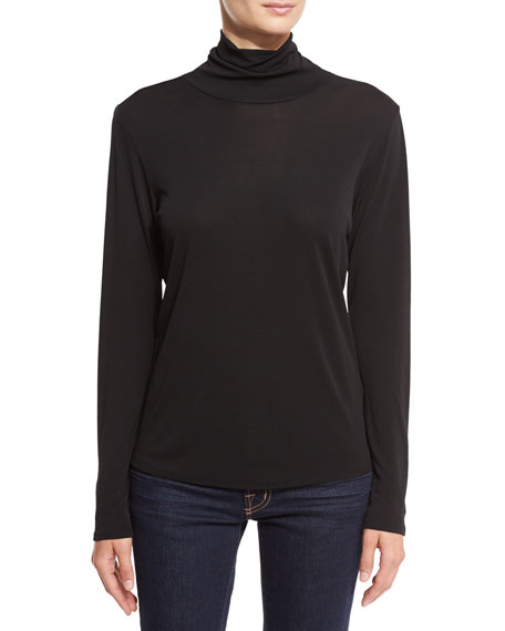 Eileen Fisher Scrunch Neck Long Sleeve Top Black Neiman