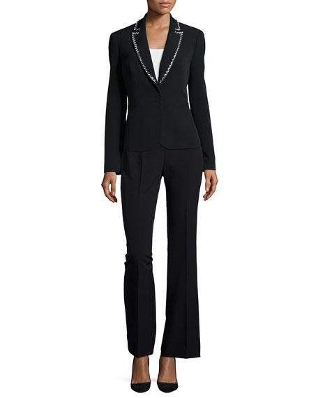 Albert Nipon Long-Sleeve Beaded Tuxedo Pant Suit