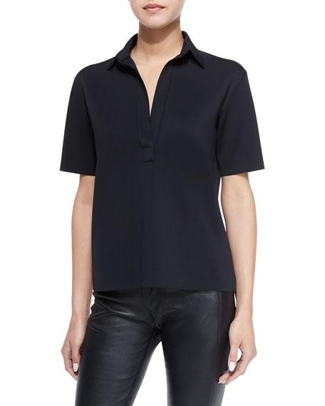 Helmut Lang Sponge Short-Sleeve Jersey Polo Top