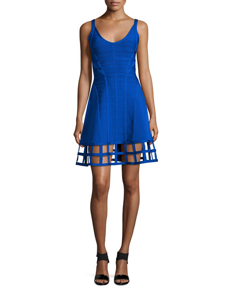 Herve Leger Sleeveless Bandage Dress W/Cage Hem, Bright