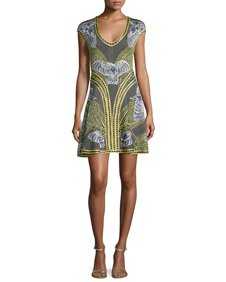 Herve Leger Long-Sleeve Short Jacquard Dress, Classic Blue