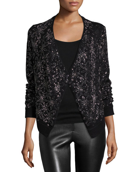 Alice + Olivia Long-Sleeve Nena Wool Cardigan, Black