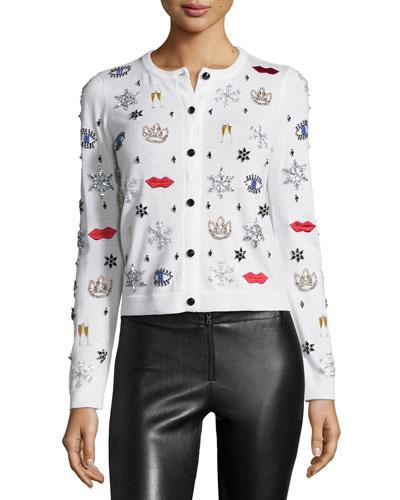 Stacey Rhinestone & Applique Wool Sweater, White