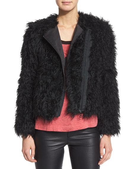 Vianna Faux-Fur Zip Jacket, Noir