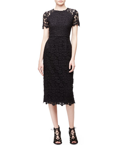 Short-Sleeve Lace Midi Sheath Dress