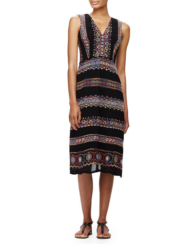 Sleeveless Paisley-Print Midi Dress, Black Multi