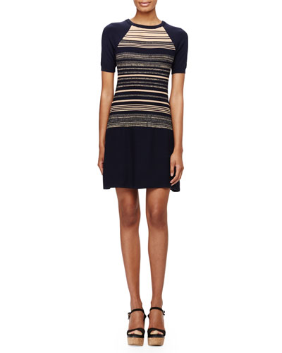 Short-Sleeve Striped Sweaterdress, Navy Multi
