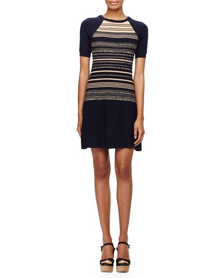 Shoshanna Short-Sleeve Striped Sweaterdress, Navy Multi