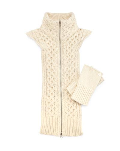 Upstate Knit Dickey w/Cuffs, Ivory