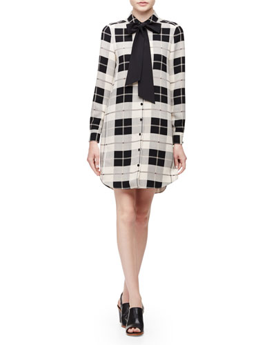 long-sleeve button-front plaid shirtdress, pumice
