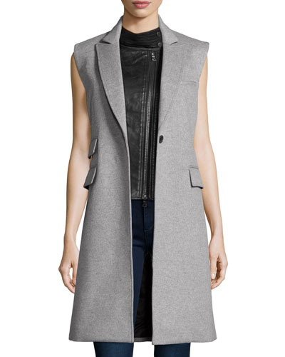 Palmer Vest with Leather Moto Dickey, Gray/Black