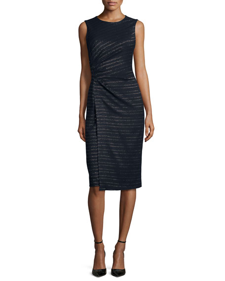 Shoshanna Sleeveless Metallic-Stripe Sheath Dress, Navy/Gold