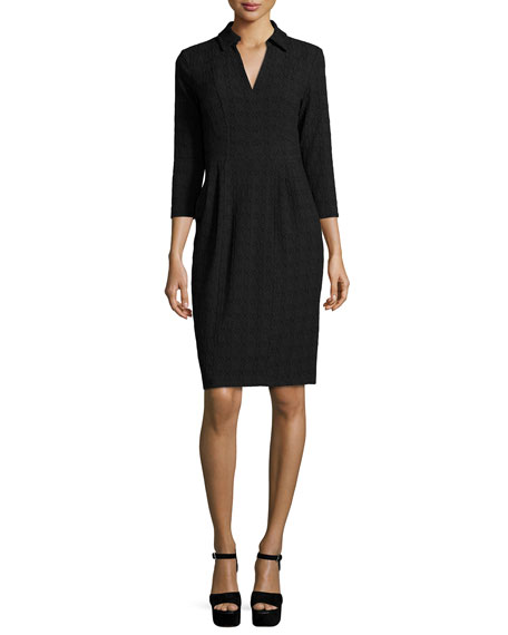 Nanette Lepore 3/4-Sleeve Textured Shirtdress