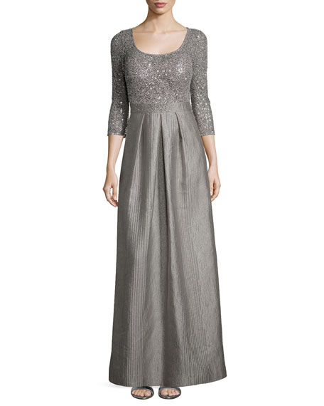 Kay Unger New York 3/4-Sleeve Sequined Full-Skirt Dress