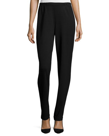 Caroline Rose Ponte Slim Pants, Black, Petite