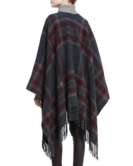 Saiome Plaid Wool-Blend Poncho