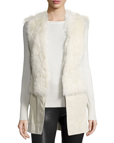 Gabby Reversible Shearling Fur Vest, Snow White