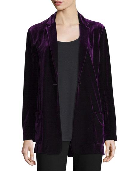Petite Velvet Button-Front Jacket