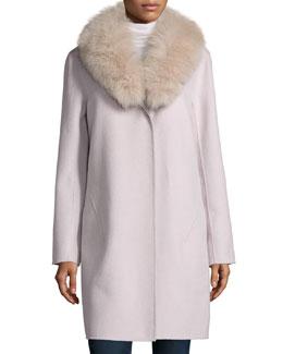 Double-Face Cashmere Coat W/ Fur Collar
