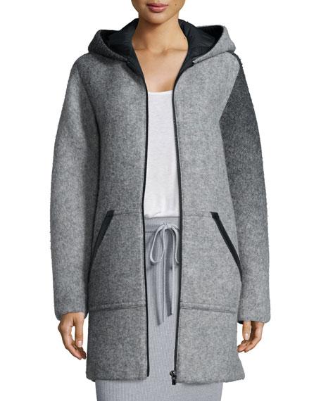 T by Alexander Wang Hooded Wool Zip Jacket,