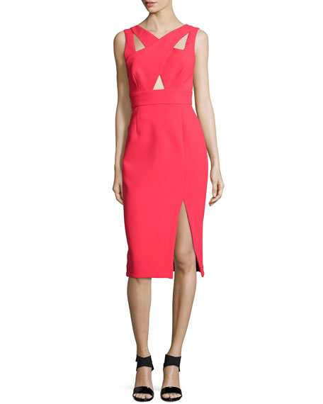 Nicholas Sleeveless Crisscross Sheath Dress, Poppy