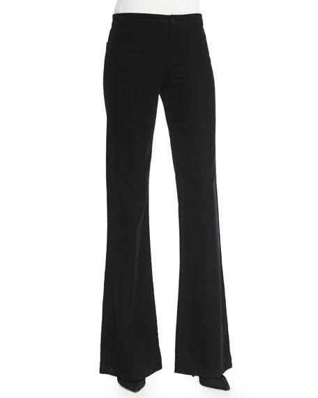 J Brand Flare-Leg Corded-Velvet Pants, Black
