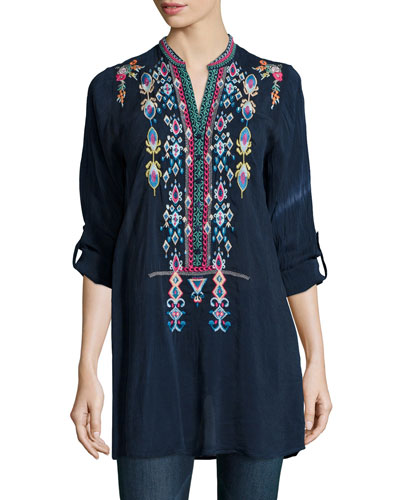 Johnny Was Collection Azten Embroidered Tab-Sleeve Blouse