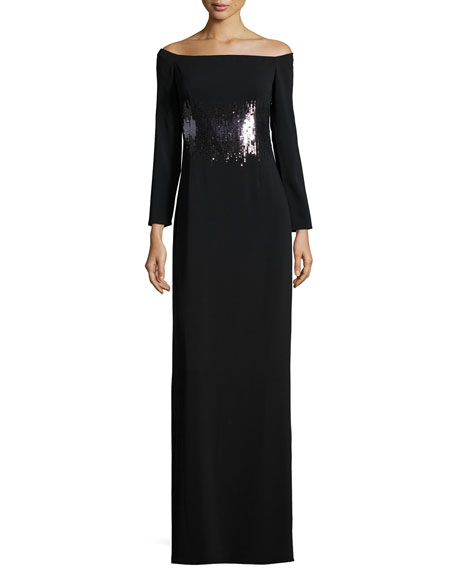 Halston Heritage Long-Sleeve Embellished Evening Gown, Black