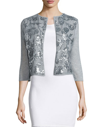 Sequined Embellished Cashmere Shrug