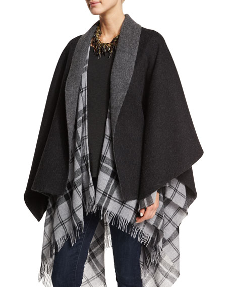 Eileen Fisher Fisher Project Baby Alpaca Poncho, Charcoal