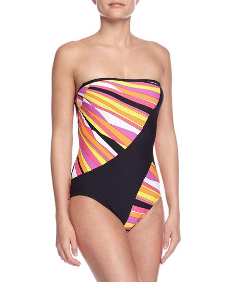 Trina Turk Sunburst Bandeau One-Piece Swimsuit, Snapdragon Pink
